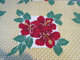 Fabulous Red Green Hibiscus on Gold Napkins Floral Vintage Printed Tablecloth (54 X 49)