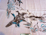 Wild Ducks Linen Novelty MWT Vintage Printed Tablecloth (52 X 52)