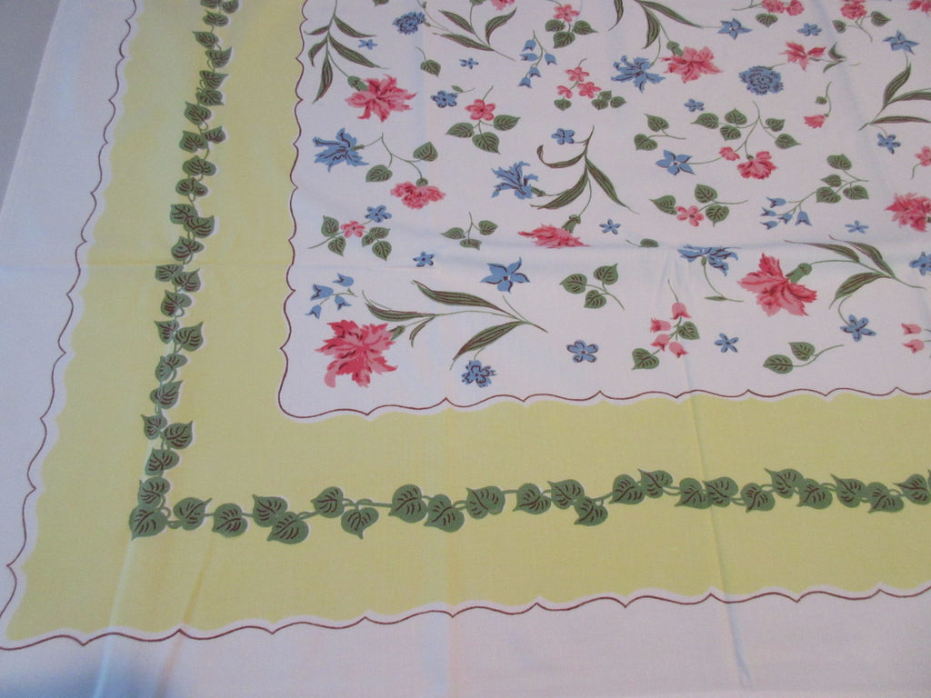 Pink Blue Carnations on Yellow Floral Vintage Printed Tablecloth (52 X 45)