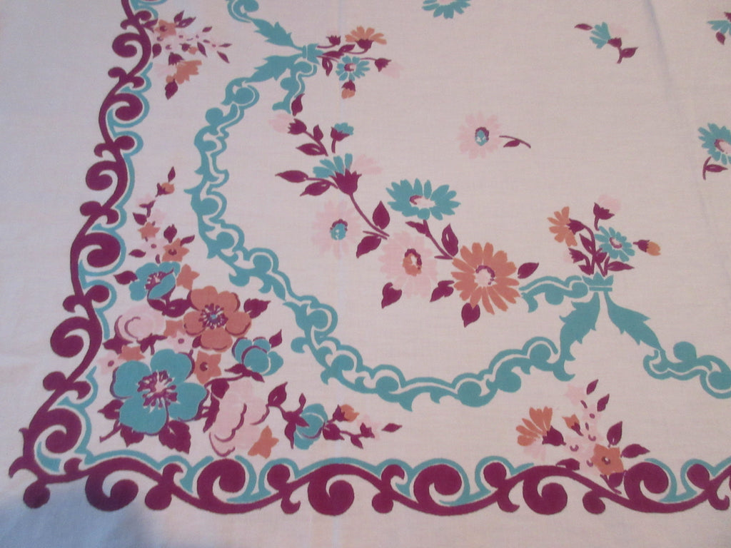 Shabby Pink Teal Magenta Floral Vintage Printed Tablecloth (49 X 45)