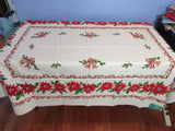 RECTANGLE 52x70 Golden Holly Poinsettias MWT Vintage Printed Tablecloth (70 X 52 actual)