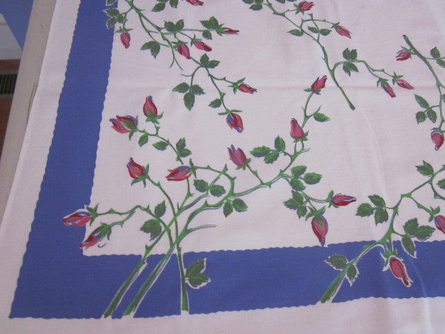 Pink Green Roses on Blue Floral Vintage Printed Tablecloth (64 X 53)