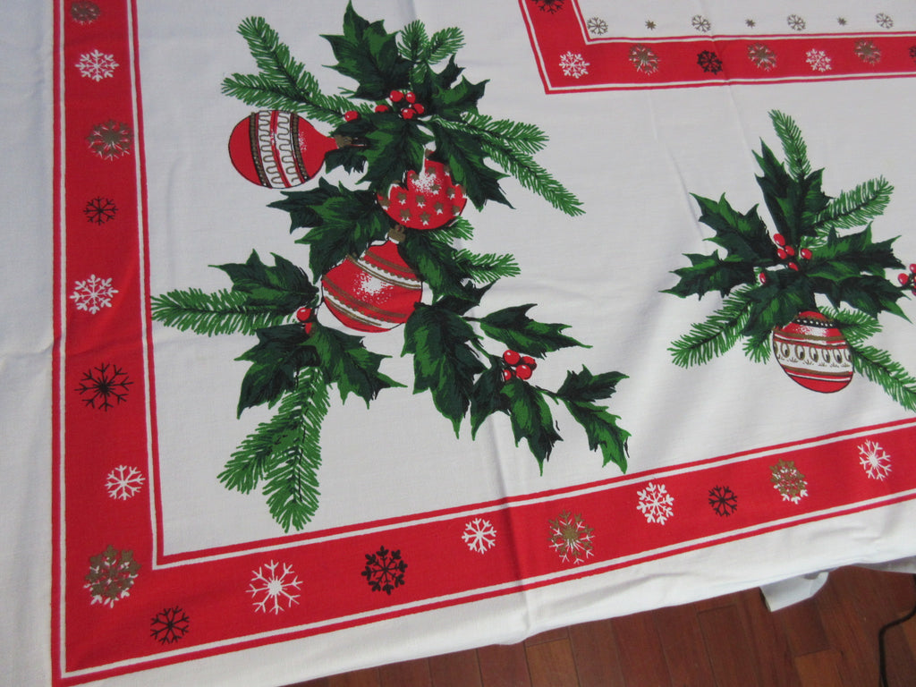 RECTANGLE 60x86 Unwashed Snowflakes Shiny Brites Vintage Printed Tablecloth (84 X 60 actual)
