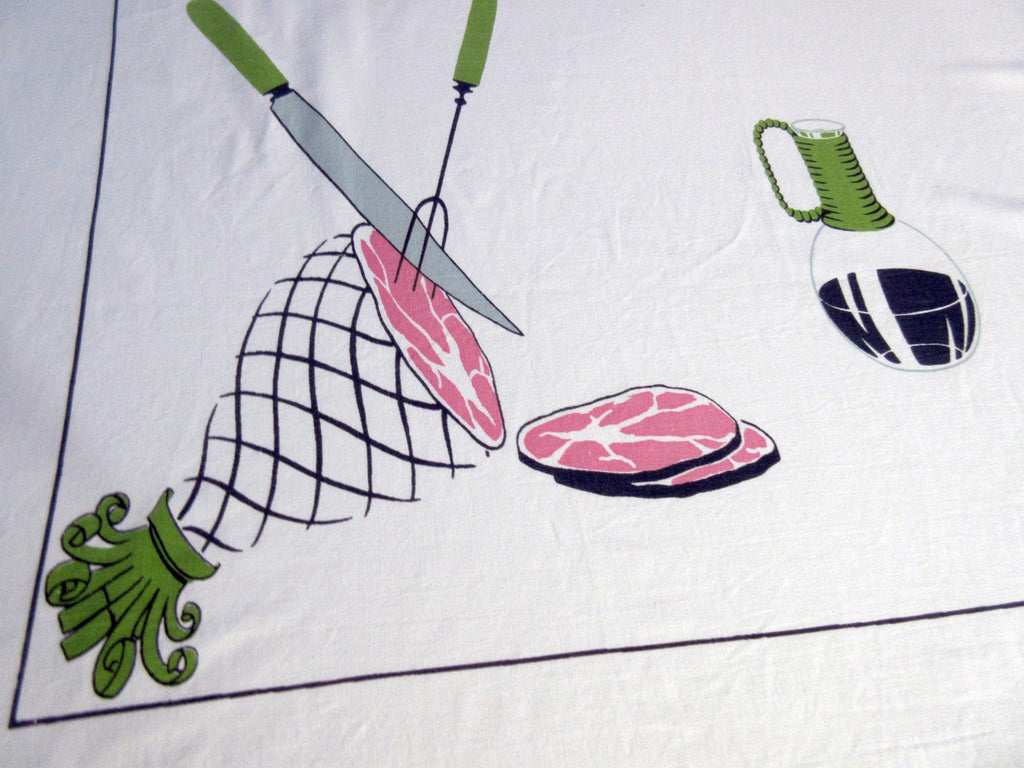Rare Ham and Eggs Breakfast Novelty Vintage Printed Tablecloth (68 X 60)