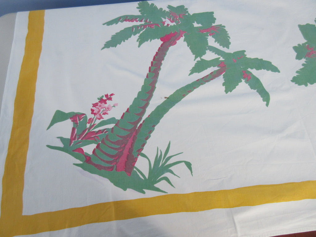 Imperfect HTF Wilendur Palm Trees Tropical Novelty Vintage Printed Tablecloth (52 X 47)
