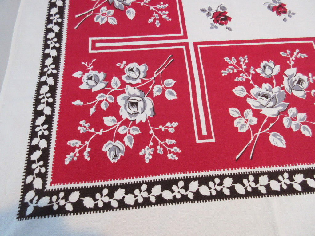 Gray Black Roses on Red Floral Vintage Printed Tablecloth (64 X 54)