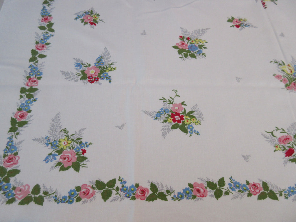 Pastel Roses Nosegays Simtex Floral Vintage Printed Tablecloth (50 X 44)