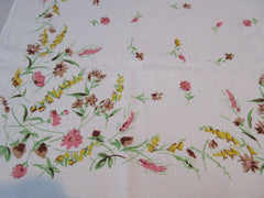 Pretty Pastel Wildflowers Linen Floral Vintage Printed Tablecloth (50 X 47)