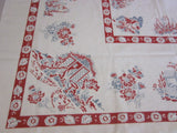 Red Gray Cottage Gardens Novelty Vintage Printed Tablecloth (50 X 46)