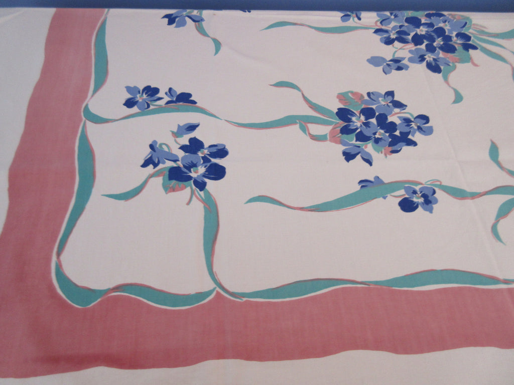 Shabby Blue Violets Green Ribbons on Pink Floral Vintage Printed Tablecloth (51 X 46)
