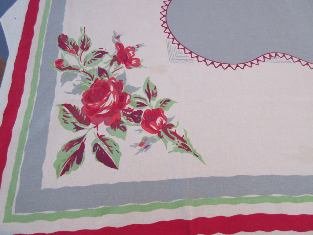 Offset Red Green Roses on Gray Cutter? Floral Vintage Printed Tablecloth (66 X 50)