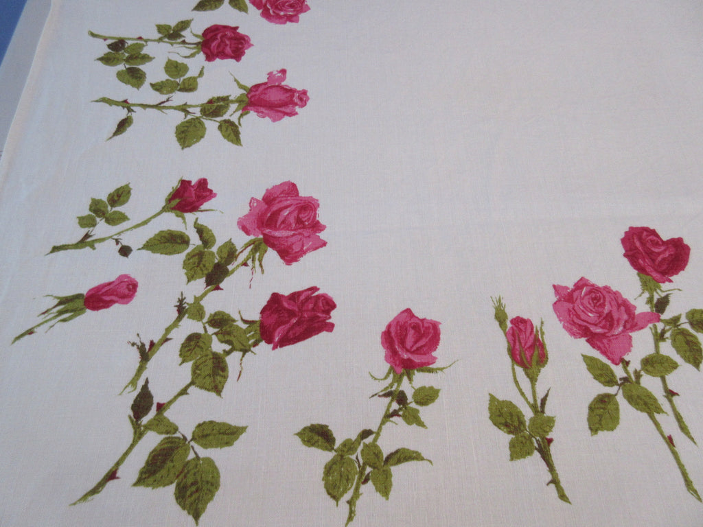 Deep Pink Green Luther Travis Roses Linen Floral Vintage Printed Tablecloth (66 X 50)