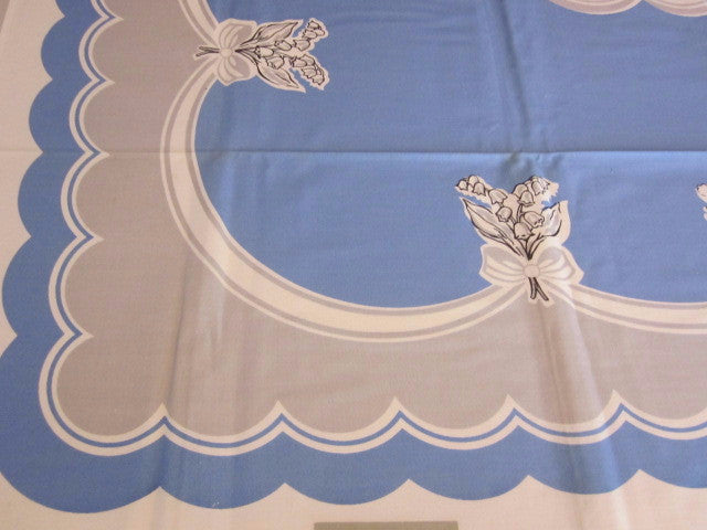 Blue Gray Ribbon Floral MWT Vintage Printed Tablecloth (51 X 51)