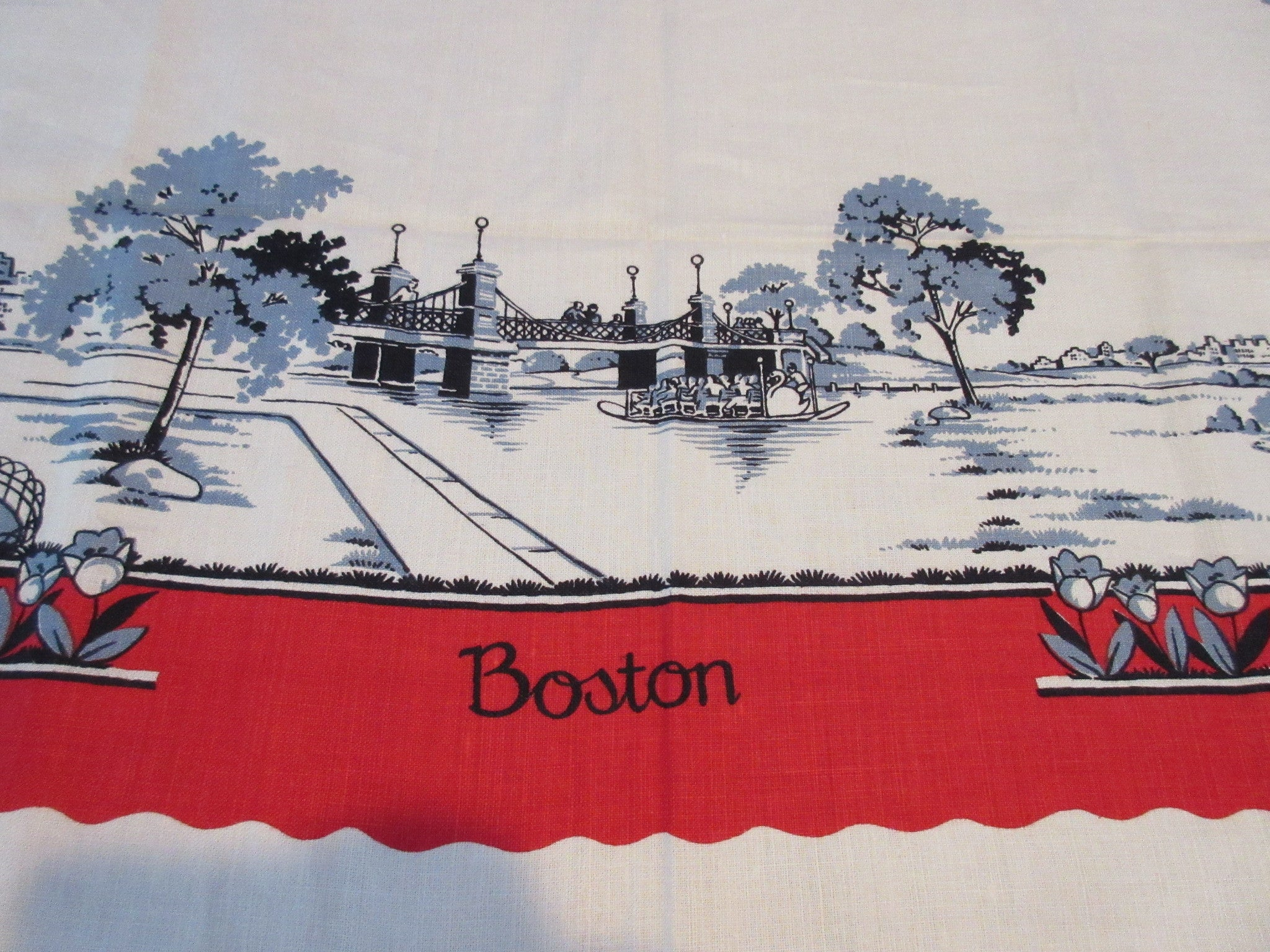 Unwashed Red Blue Boston Massachusetts Souvenir Linen Novelty Vintage Printed Tablecloth (51 X 51)