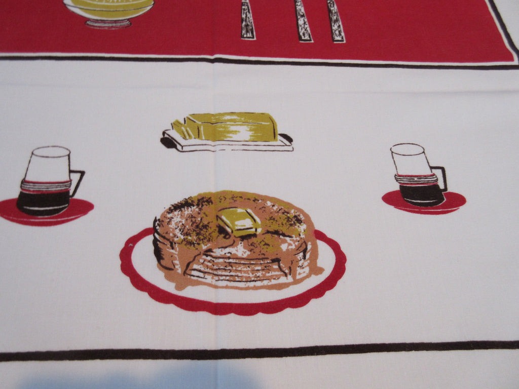 Rare Red Breakfast Pancakes on Red Calaprint Novelty Vintage Printed Tablecloth (52 X 46)