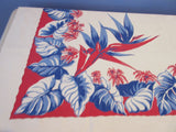 Early Patriotic Tropical Floral Red Blue Novelty Vintage Printed Tablecloth (52 X 45)