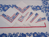 Early Patriotic Sheeting Dogwood Napkins Floral Vintage Printed Tablecloth (65 X 54)