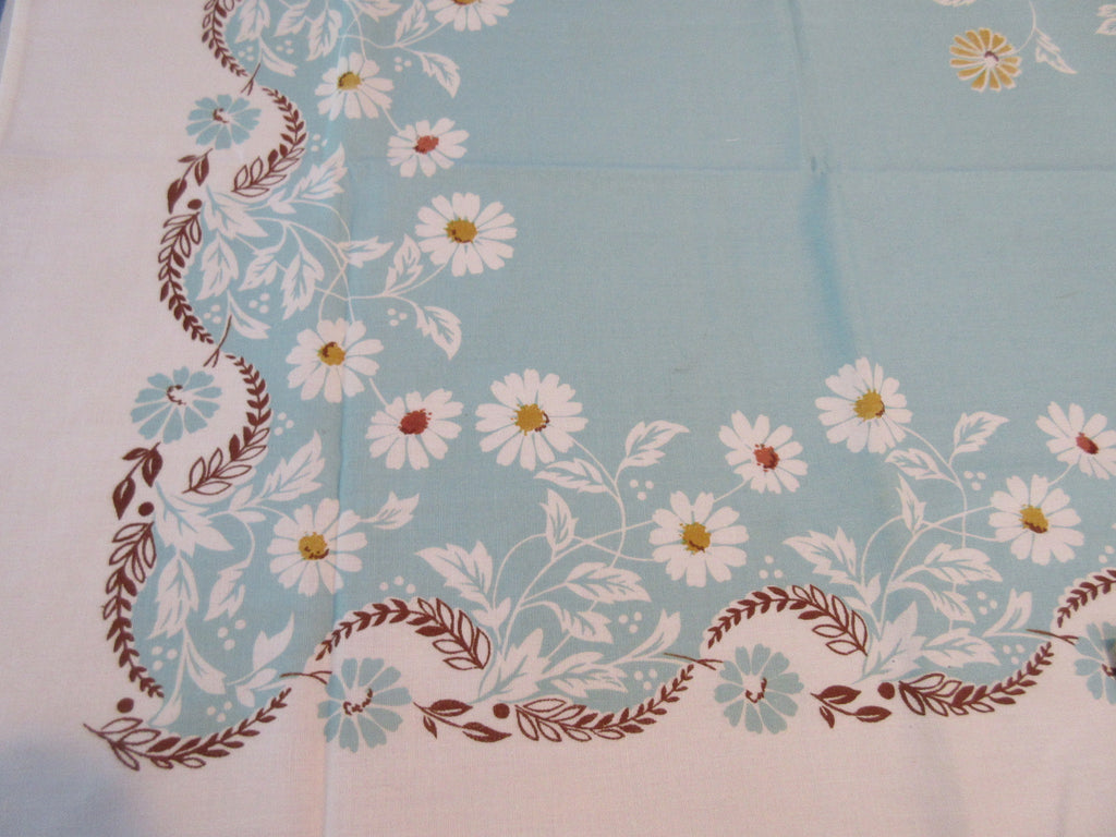 Tan Daisies on Aqua MWT Floral Vintage Printed Tablecloth (69 X 51)