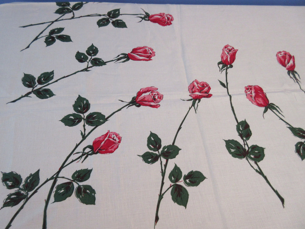 Pink Red Green Roses Yorflax MWT Floral Napkins Vintage Printed Tablecloth (71 X 51)