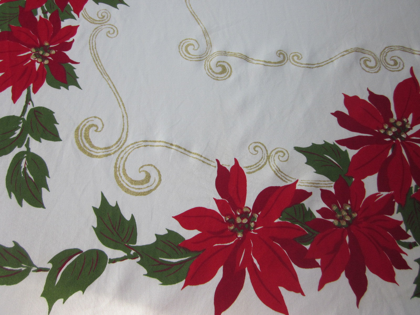 CHP Christmas Poinsettia Vintage Printed Tablecloth (69 X 54)