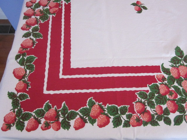Strawberries on Red Fruit Sheeting Vintage Printed Tablecloth (64 X 51)