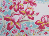 Pretty Pink Yellow Iris on Aqua Floral Vintage Printed Tablecloth (54 X 52)