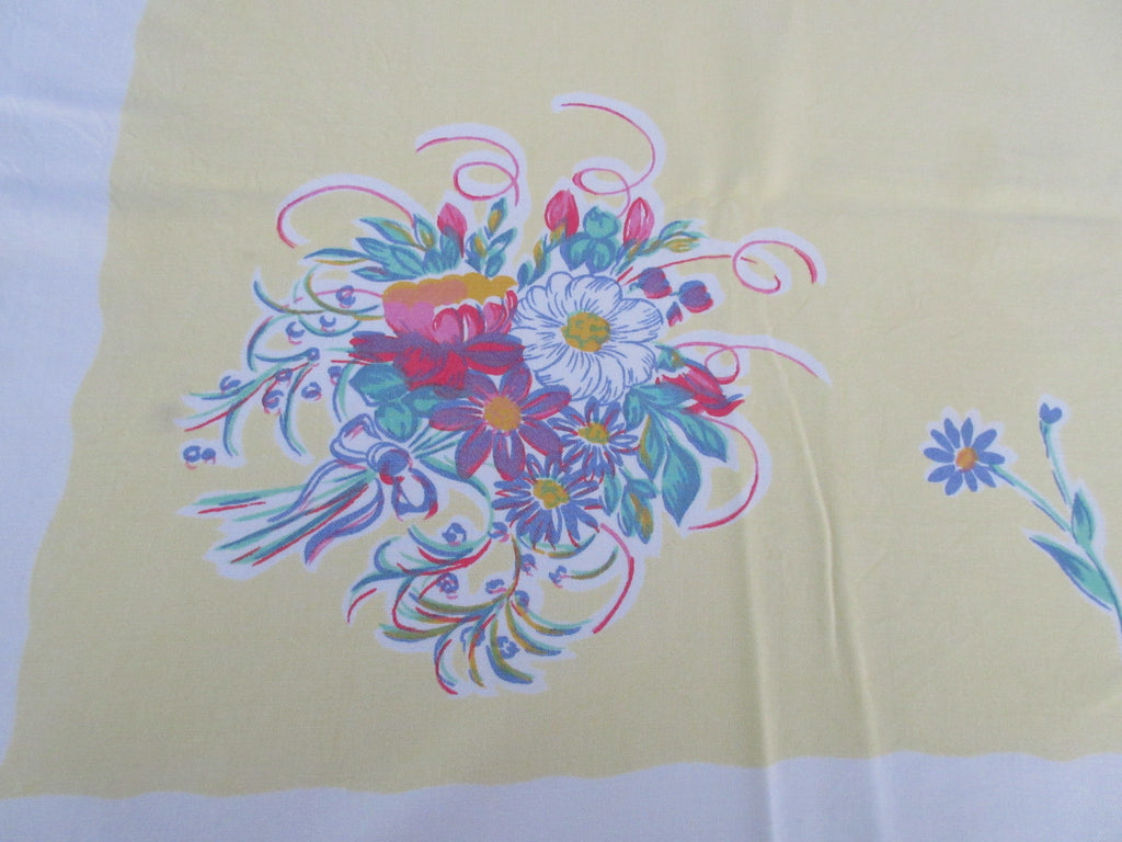 Primary Daisy Nosegay on Banana Yellow Floral Vintage Printed Tablecloth (53 X 50)