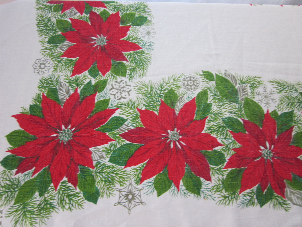 Christmas Poinsettia Linen Vintage Printed Tablecloth (68 X 50)