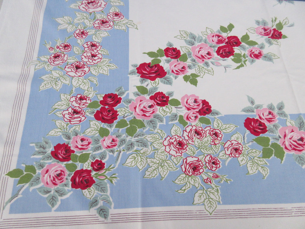 Offset Pink Red Green Roses on Blue Floral Vintage Printed Tablecloth (60 X 52)