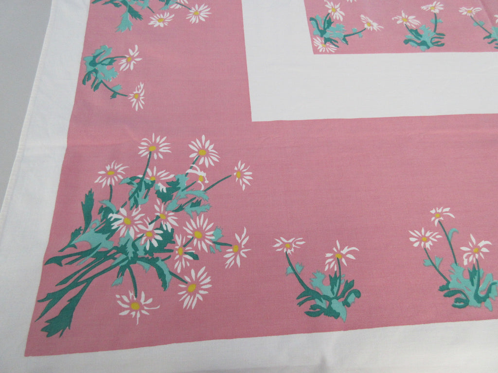 Daisies on Pink Center Floral Vintage Printed Tablecloth (58 X 53)