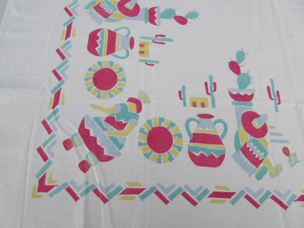 Mexican Block Print Leda? CUTTER Novelty Vintage Printed Tablecloth (46 X 45)