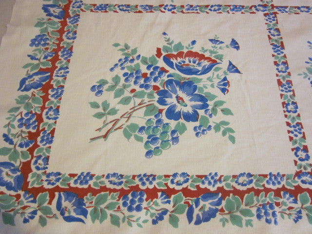 Pretty Primary Red Blue Green Floral Vintage Printed Tablecloth (52 X 44)
