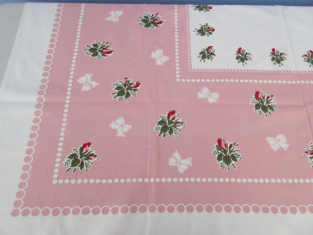 Pink Roses Rosebuds on Pink CUTTER Bows Polkadots Floral Vintage Printed Tablecloth (51 X 46)