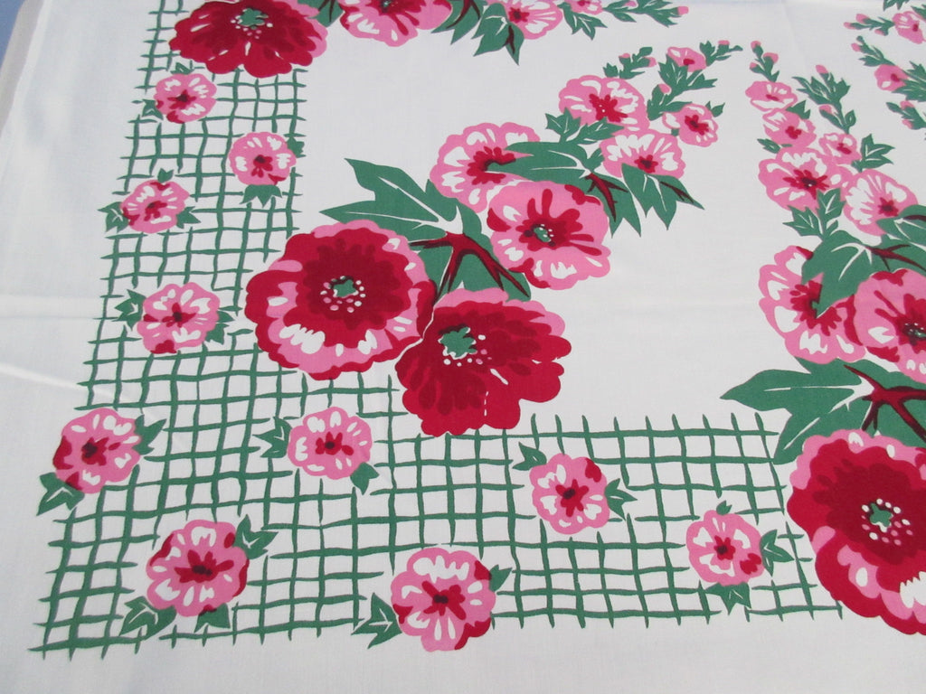 Pink Green Hollyhocks Grid Floral Vintage Printed Tablecloth (51 X 49)
