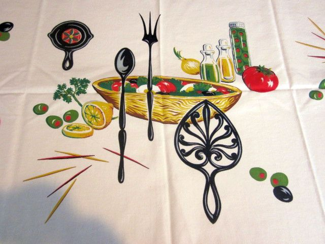 Wilendur Salad Trivet Novelty Vintage Printed Tablecloth (54 X 50)