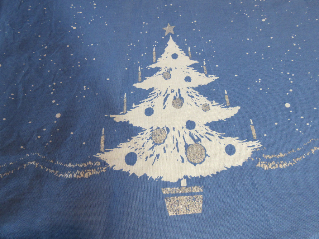 OVAL Silver Trees on Blue REPRO CHP Christmas Vintage Printed Tablecloth (82 X 60 actual)