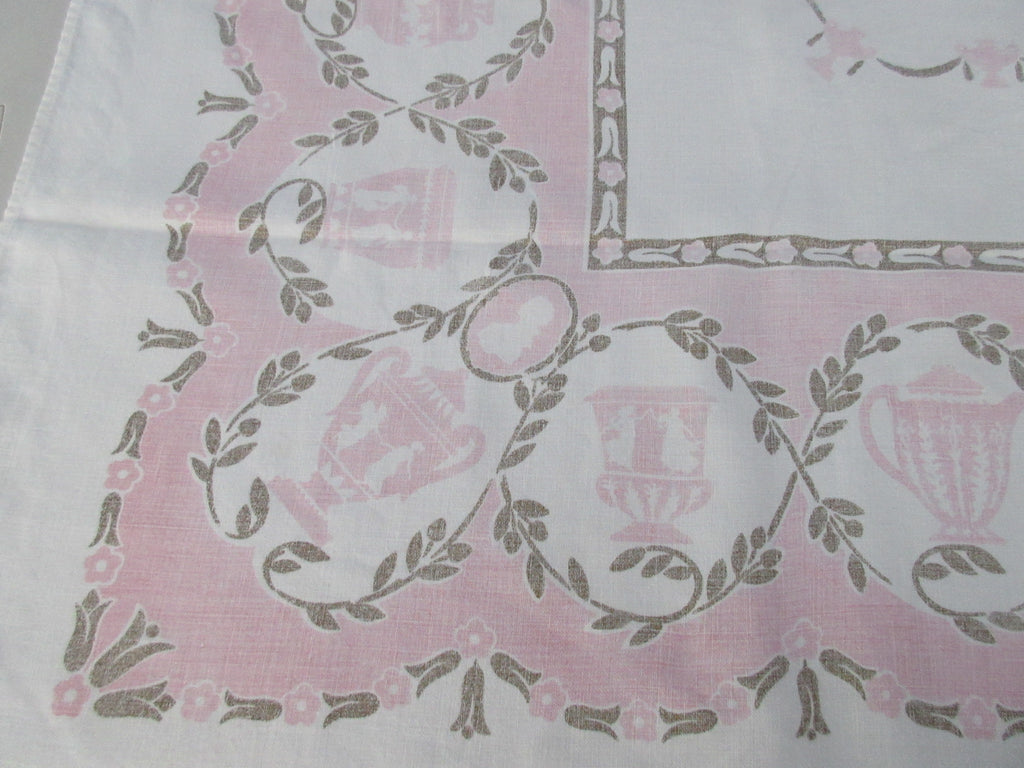 Shabby Pink Gold Greek Urns Linen Napkins Novelty Vintage Printed Tablecloth (66 X 48)
