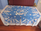 French Food Ladies on Blue Linen Novelty Vintage Tablecloth (52 X 50)