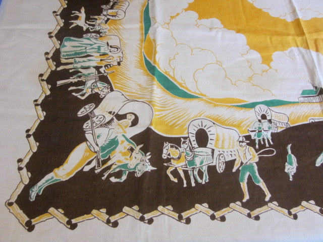 Rare Unwashed Wild West Novelty Vintage Printed Tablecloth (53 X 53)