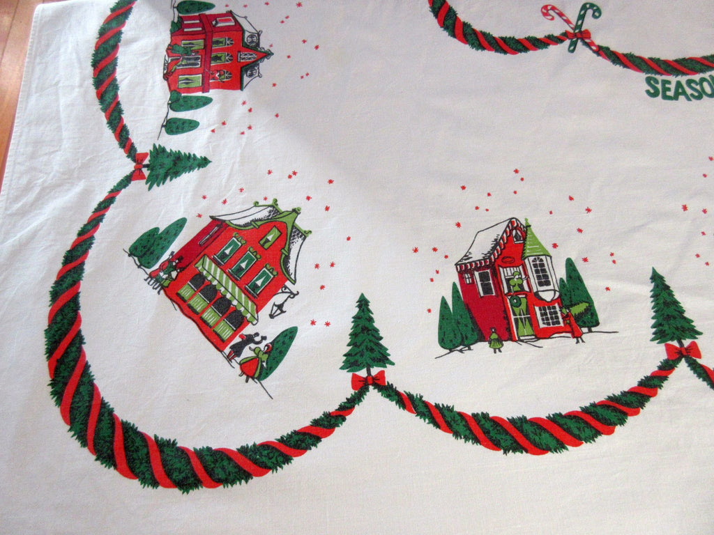 Victorian Houses Seasons Greetings Christmas Vintage Printed Tablecloth (63 X 53)