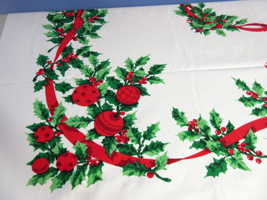 Candy Canes Shiny Brites Christmas Vintage Printed Tablecloth (53 X 45)