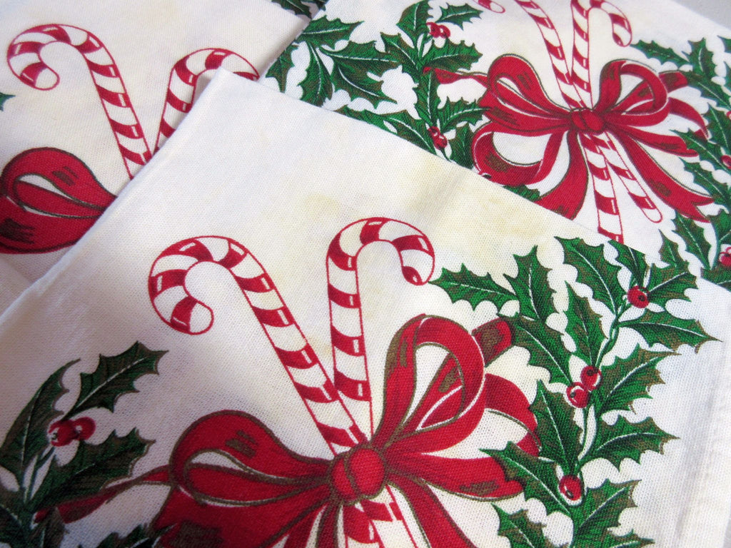 Candy Canes Holly SEVEN 7 Reproduction Napkins Christmas