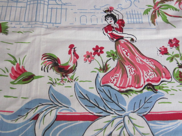 Bright Pastel Mexican MWT Novelty Vintage Printed Tablecloth (54 X 53)