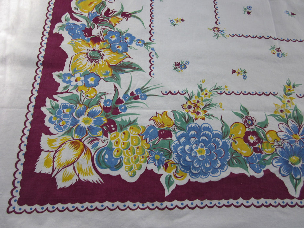 Blue Yellow Fruit Floral on Magenta Vintage Printed Tablecloth (52 X 47)