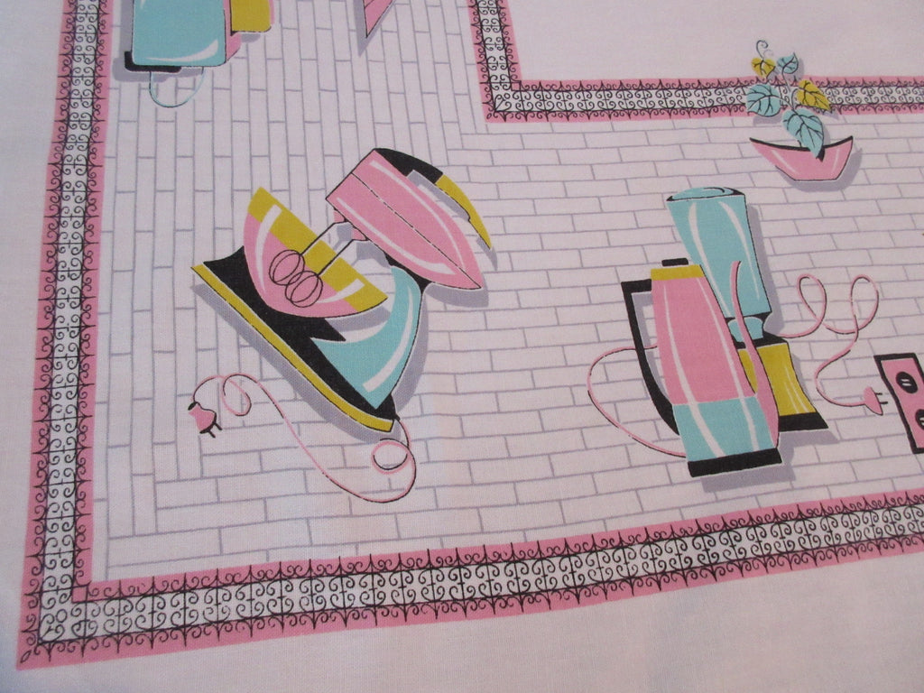 Cutter? Pink Aqua Appliances HTF Novelty Vintage Printed Tablecloth (63 X 53)