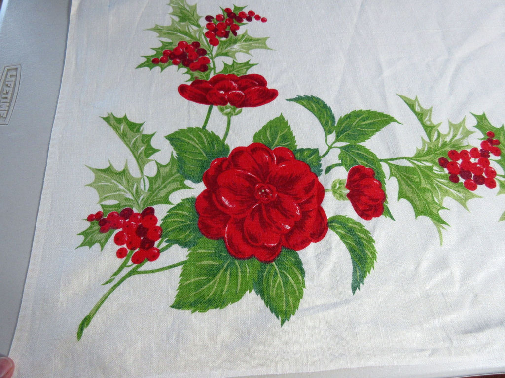 Christmas Roses and Holly Linen Vintage Printed Tablecloth (66 X 49)