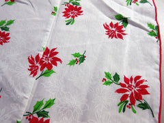 Large ROUND Poinsettias Christmas Vintage Printed Tablecloth (88 X 86)