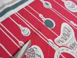 Imperfect Rare Hanging Ornaments Christmas Vintage Printed Tablecloth (60 X 54)