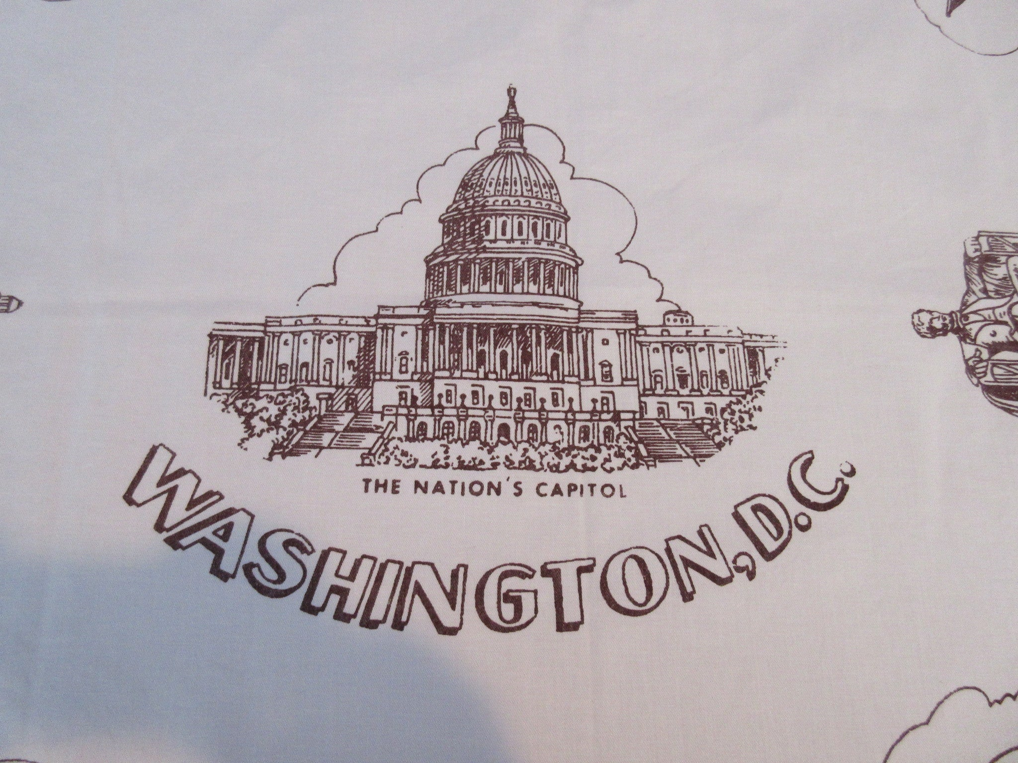 Rare Washington DC Capitol Souvenir Novelty Vintage Printed Tablecloth (37 X 34)
