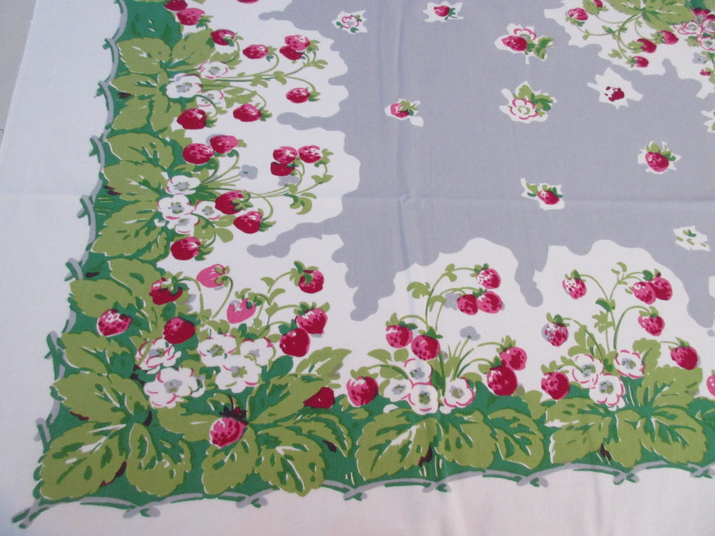 Strawberries on Gray Parisian Fruit Vintage Printed Tablecloth (53 X 45)